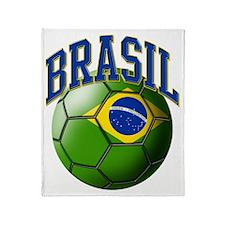 Flag of Brasil Soccer Ball Throw Blanket