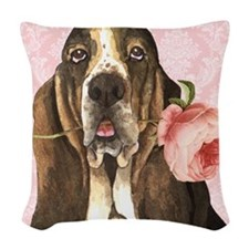 Basset Hound Rose Woven Throw Pillow