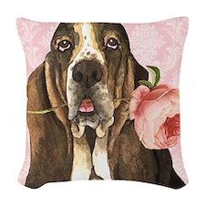 Basset Hound Rose Woven Throw Pillow