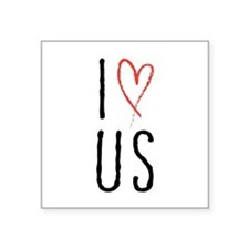 I love us text design with red heart Sticker