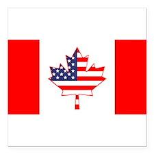 "Cute Canadian Square Car Magnet 3"" x 3"""