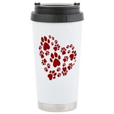 Pawprints Heart (Red) Travel Mug