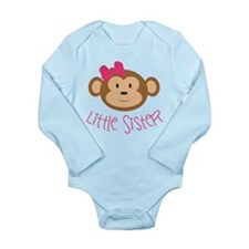 Little Sister Monkey Long Sleeve Infant Body Suit
