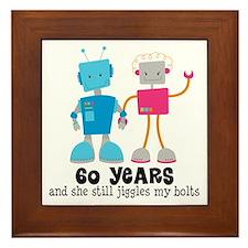 60 Year Anniversary Robot Couple Framed Tile