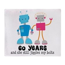 60 Year Anniversary Robot Couple Throw Blanket