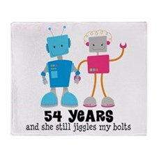 54 Year Anniversary Robot Couple Throw Blanket