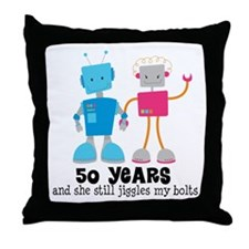 50 Year Anniversary Robot Couple Throw Pillow