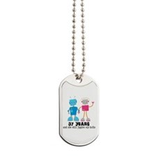 37 Year Anniversary Robot Couple Dog Tags