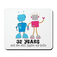 32 Year Anniversary Robot Couple Mousepad