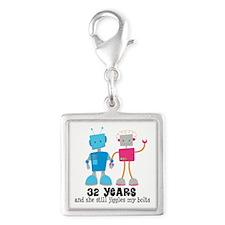 32 Year Anniversary Robot Couple Silver Square Cha