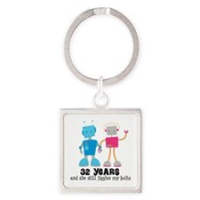 32 Year Anniversary Robot Couple Square Keychain