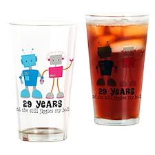 29 Year Anniversary Robot Couple Drinking Glass