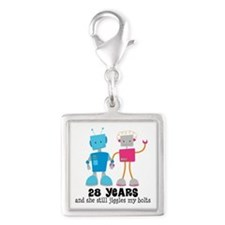 28 Year Anniversary Robot Couple Silver Square Cha