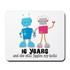 16 Year Anniversary Robot Couple Mousepad