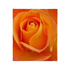 Orange Rose Throw Blanket