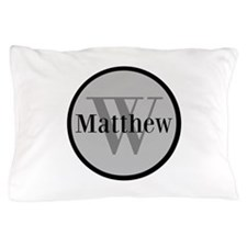 Gray Name and Initial Monogram Pillow Case