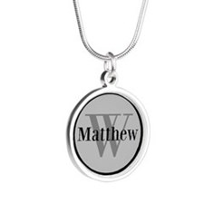 Gray Name and Initial Monogram Necklaces