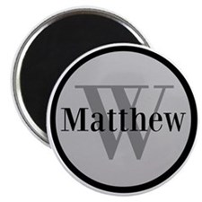 Gray Name and Initial Monogram Magnets