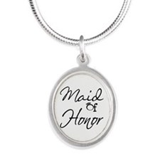 Maid of Honor Silver Oval Necklace