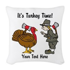 Funny Thanksgiving Woven Throw Pillow