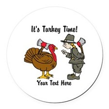 Funny Thanksgiving Round Car Magnet