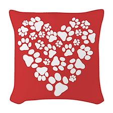 Dog Paw Prints Heart Woven Throw Pillow