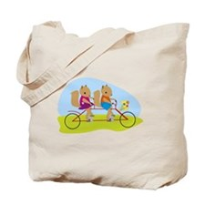 Squirrels on a Tandem Bike Tote Bag