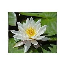 White Lotus Flower Throw Blanket
