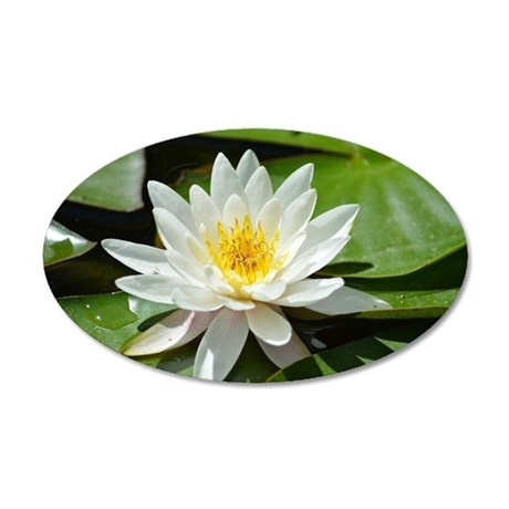 White Lotus Flower 35x21 Oval Wall Decal
