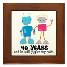 40 Year Anniversary Robot Couple Framed Tile