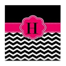 Black Pink Chevron Monogram Tile Coaster