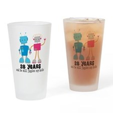 28 Year Anniversary Robot Couple Drinking Glass