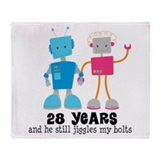 28 Year Anniversary Robot Couple Throw Blanket
