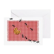 Ant Picnic on Red Checkered Cloth Greeting Card