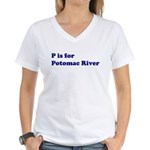 P is for Potomac River Women's V-Neck T-Shirt