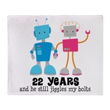 22 Year Anniversary Robot Couple Throw Blanket