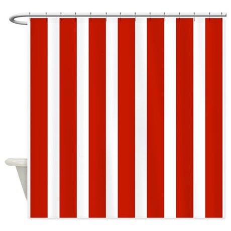 Tulip Red And White Stripes Shower Curtain By Showercurtainsworld