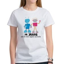 14 Year Anniversary Robot Couple Tee
