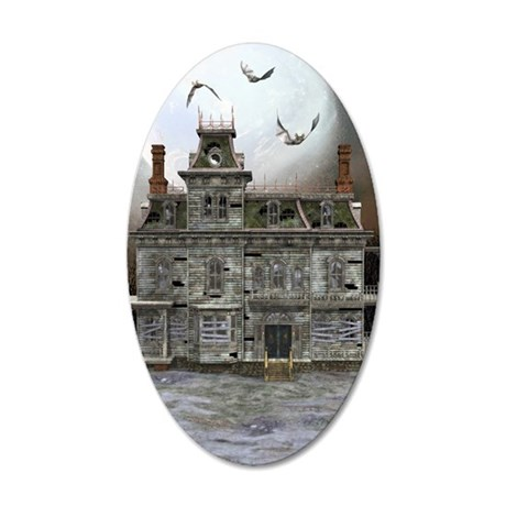 Halloween House 35x21 Oval Wall Decal