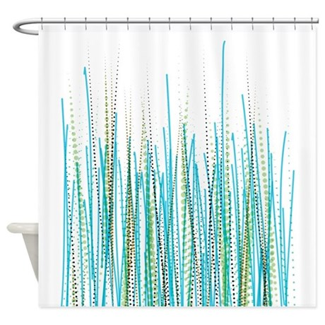 blue bathroom d cor blue green halftone chaos shower curtain