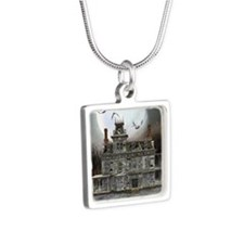 Halloween House Silver Square Necklace