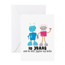 10 Year Anniversary Robot Couple Greeting Card