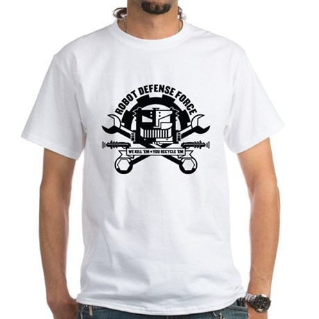 Strk3 Robot Defense Force White T-Shirt