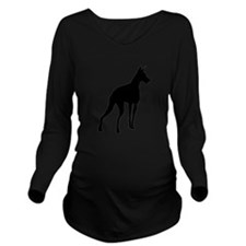 Doberman Silhouette Long Sleeve Maternity T-Shirt
