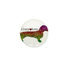 Dachshund - Crazy Love Mini Button (100 pack)