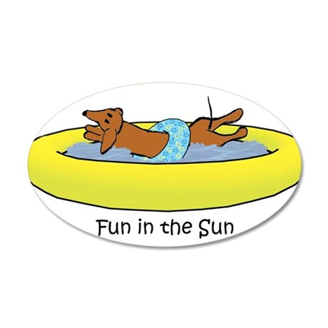 Dachshund - Fun in the Sun 20x12 Oval Wall Decal