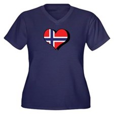 I Love Norway Women's Plus Size V-Neck Dark T-Shi
