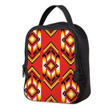 Native American Design Fire Neoprene Lunch Bag