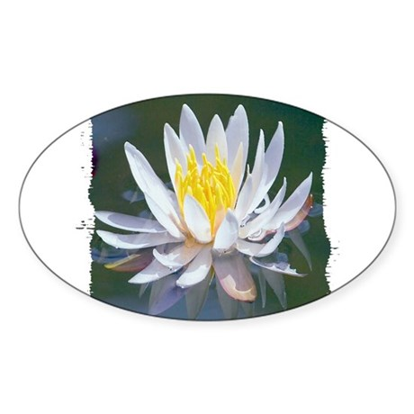 Lotus Blossom Oval Sticker