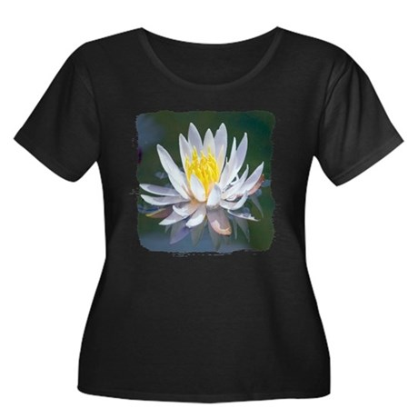 Lotus Blossom Women's Plus Size Scoop Neck Dark T-